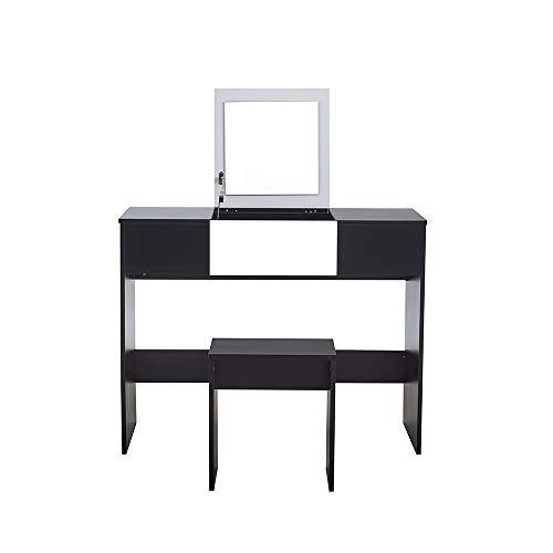 Keinode - Mesa de tocador Plegable con Espejo Grande de Madera Maciza para Maquillaje, Mesa de tocador, Escritorio para Dormitorio, Sala de Estar, baño, Estudio, Taburete