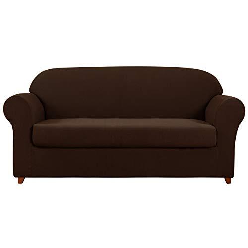 Subrtex – funda para sofá de 2 piezas, tejido elástico de elastano jacquard