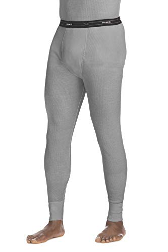 Hanes Men's Waffle Knit Thermal Pant with FreshIQ, X-Temp Technology & Organic Cotton Heather Grey