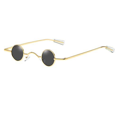 TENDYCOCO Occhiali da Sole Rotondi Piccoli Montatura Creativa Occhiali da Festa Creativi Occhiali da Spiaggia per Uomo Donna (Nero Dorato)
