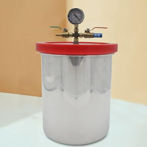 Cámara de vacío de 5 /2 galones de acero inoxidable, máquina de eliminación de espuma al vacío, equipo de desespuma de resina AB con bomba de vacío para fábricas, laboratorios (5 galones)