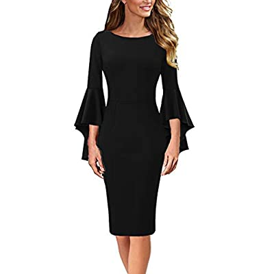 VFSHOW Womens Ruffle Bell Sleeves Business Holiday Cocktail Attire Party Bodycon Sheath Dress
