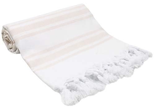 ZOLLNER Toalla Playa Pareo Mujer, 90x170 cm algodón, Beige