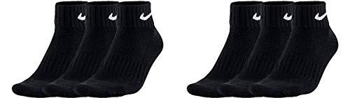 Nike Socken Herren Damen 6 Paar One Quater Socks Kurze Socke Knöchelhoch Weiß Schwarz Gemischt (weiss grau schwarz) Größe 34 36 38 40 42 44 46 48 50, Farbe:Schwarz, Grösse:42-46