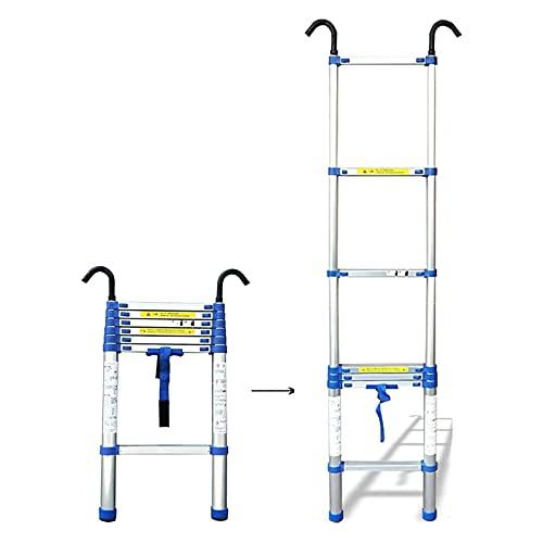 MAG.AL Plegable Telescópico Escalera Telescópico Escalera con Desmontable Gancho, Aluminio Telescópico Extensión Alto Multiusos Desván Escalera MAX Carga 150 kg / 330 Libras,2M