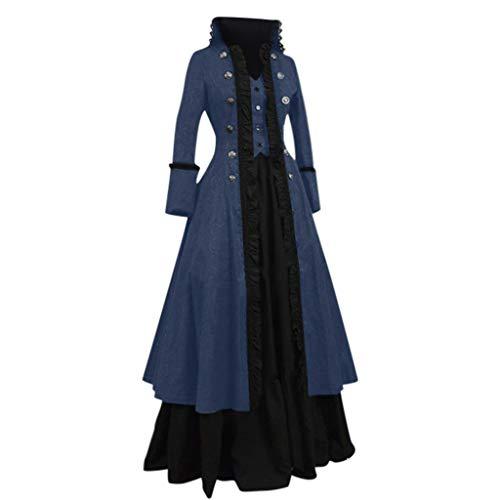 Vestido Medieval Mujer Talla Grande Disfraz Vintage Cosplay Palacio Medievales Comunion Carnival Traje Criada Reina Dama Vestidos de Fiesta Mujeres Largos Disfraces Renacimiento (Azul, M)