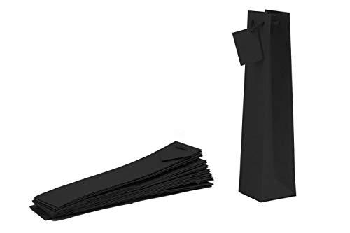 Shopper aus Kraftpapier Havana schwarz mit Baumwollgriffen für normale Flaschen 09x9x39 10 Stück
