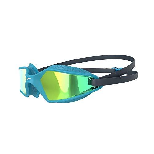 Speedo Unisex-Youth Hydropulse Mirror Junior Schwimmbrille, Navy/Blue Bay/Gold Yellow, Einheitsgröße