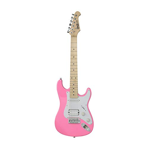 CNZ Audio ST Mini Electric Guitar - Pink Body, Maple Neck & Fingerboard, 3/4 Short Scale Guitar (7/8 Size), Single & Humbucker Pickups