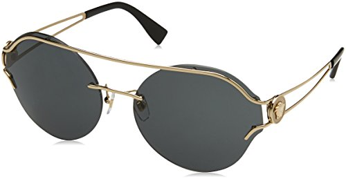 Versace Damen 0VE2184 125287 61 Sonnenbrille, Gold (Pale Gold/Grey)