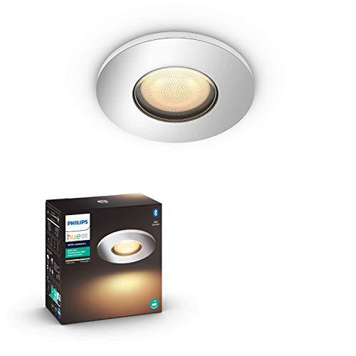 Philips Hue White Amb. Adore LED-Einbauspot Adore, Bad-Beleuchtung, silber, rund, dimmbar, alle Weißschattierungen, steuerbar via App, kompatibel mit Amazon Alexa (Echo, Echo Dot)
