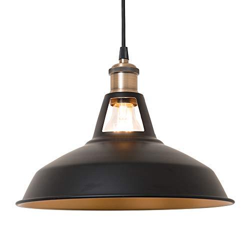 Haian Support ペンダントライト レトロ 照明器具 E26 引掛けシーリング 1灯 黒 天井照明 LED 電球対応 電球別売り 北欧 インダストリアル 鉄 リビング ダイニング 食卓用 簡単取り付け 工事不要