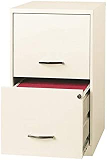 """Space Solutions 18"""" 2 Drawer Metal File Cabinet Pearl White"""