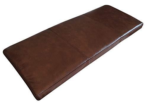 Quattro Meble Antiek bruin echt leer bankbekleding zitkussen lederen kussen zitkussen bank editie dubbel genaaid echt leer kussen zitkussen 40 x 70 cm Braun - Antique Brown 3000