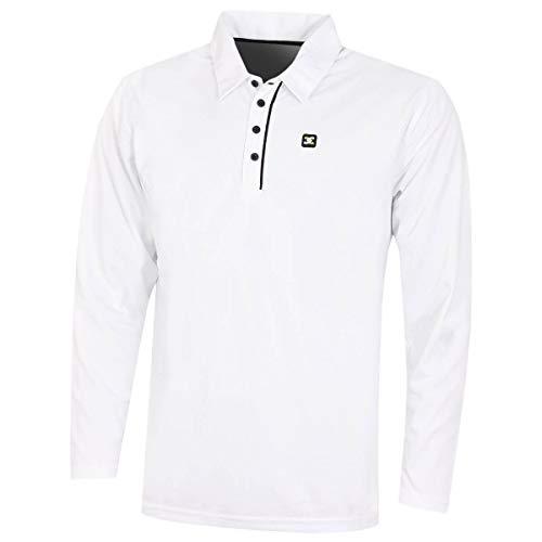 Stuburt Golf SBTS1020 Polo de Golf à Manches Longues pour Homme M Blanc