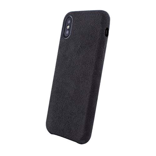 PDA-Punkt Dual Alcantara - Funda de Piel para iPhone XS/X, Color Negro