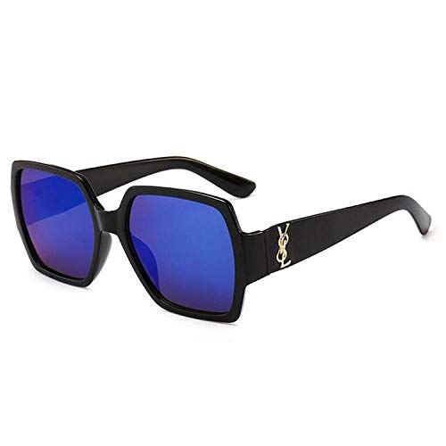 hqpaper Gafas de sol para mujer, caja de moda, gafas de sol coloridas, lentes retro oceánicas, montura negra, película azul hielo
