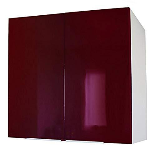 Berlioz Creations - Mobiletto da cucina con 2 ante, Altro, Bordeaux molto lucido, 80 x 33