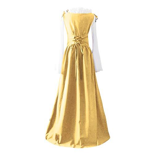 Covermason Mujer Retro Vendaje Corset Vestido - Dama de Honor Vestido Noche Elegante - Verano Patchwork Manga Larga Falda de Fiesta Mujer Largos (3XL,Amarillo)