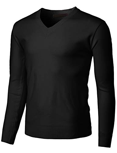 H2H Mens Casual Slim Fit Pullover Sweaters Long Sleeve Lightweight Thin Fabric Black US M/Asia L (KMOSWL255)
