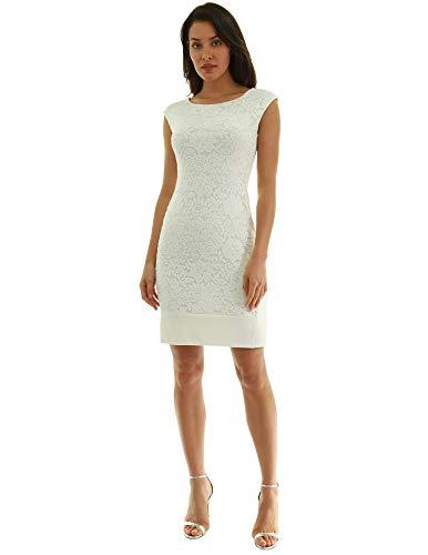 PattyBoutik Women Crewneck Lace Overlay Dress (Ivory Small)