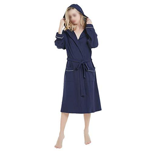 zyy Primavera y otoño Mujeres túnicas más tamaño Simple Tejido algodón con Capucha Albornoz Femenino Fino Manga Larga Albornoz 5XL (Color : Blue, Size : 3XL)
