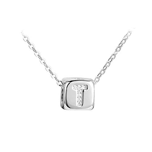 FGT Crystal Initial Letter Necklace Dice Pendant Silver T Necklace Gift for Mum Women Anniversary Birthday