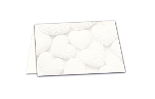 50 stuks kleine witte harten blanco plaatskaarten naamplaatjes plaatskaarten naamkaartjes voor elke pen Ideaal voor een verjaardag, doop, huwelijk, communie, Moederdag.