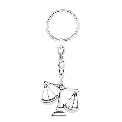 STERLL Herren Schlüssel-Anhänger Sternzeichen Waage Echt Silber Oxidiert Schmuck-Beutel Männer Valentinstag Geschenk
