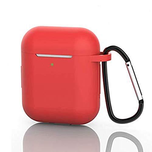 Funda AirPods, Protector Completo Funda de Silicona Airpod Case con Mosquetón, Compatible con AirPods 1 2, Front LED Visible, Soporta Carga Inalámbrica (Rojo)
