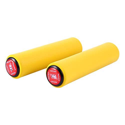 自転車 ハンドルバーグリップ カバー 握りやすい 衝撃吸収 乗り心地良い 取り付け簡単 18 mmのハンドルバーに対応 バーエンド付 交換品 アクセサリー 1ペア (レッド)