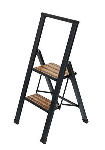 WENKO Alu-Design Klapptrittleiter 2-stufig Schwarz - rutschfeste Haushaltsleiter, Sicherheits-Stehleiter, Aluminium beschichtet, 44 x 101 x 5.5 cm, Schwarz