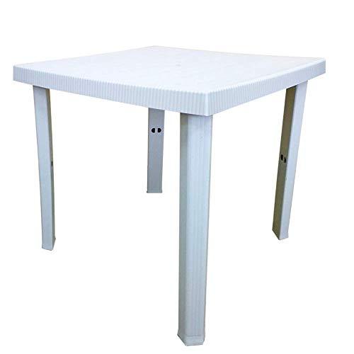 Luxurygarden Tavolo da Esterno in Resina, Quadrato 4 Posti, per Giardino Balcone Terrazza e Bar | 80x80x72h (Bianco)