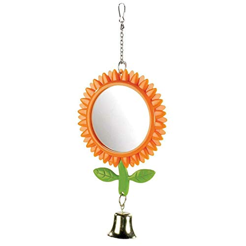 CLASSIC Budgie Sunflower Bird Mirror Hanging Bell Chain Cage Accessory Toy 13cm