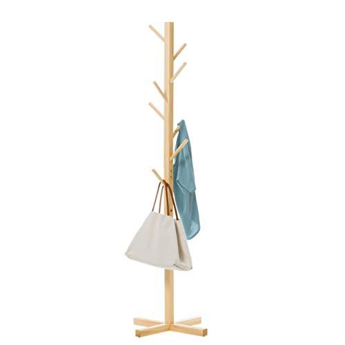 LUAN Perchero Escudo Prima de Madera sólida del Bastidor con Patas con 8 Ganchos de Madera de árbol Perchero Estante for Colgar la Chaqueta de Sombrero Paraguas Perchero de (Color : Solid Wood)