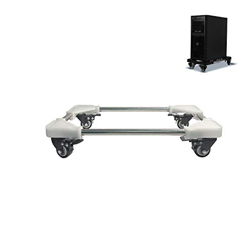 Blissgo Soporte para CPU móvil, soporte ajustable para computadora con ruedas de bloqueo de metal, tamaño grande, color blanco