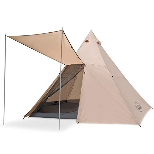 KAZOO Family Camping Tent Large Waterproof Tipi Tents 8 Person Room Teepee Tent Instant Setup Double Layer (Off-White)