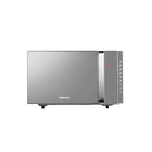 MEDION 3-in-1 Mikrowelle mit Grill und Heißluft Funktion, 800 Watt Leistung, 1200 Watt Obergrill-/Heißluftleistung, 23L, MD17495, silber