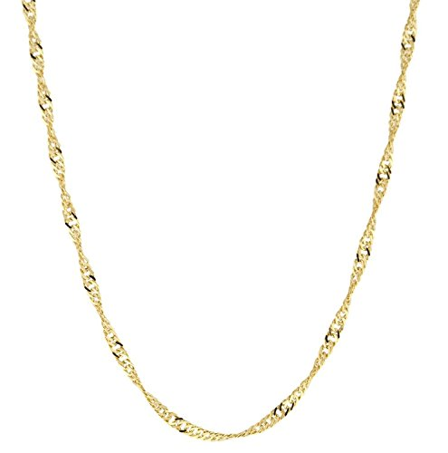 14 Karat / 585 Gold Singapur Kette Licht Zweiseitig Diamantiert Unisex, Länge Wählbar (44)