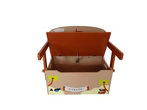 Bebe Style PRF1CTB Verwandelbare Spielzeugkiste + Tischbank + Stuhl - Holzkiste Aufbewahrung, braun - 4