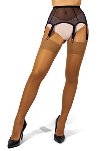sofsy Sheer Oberschenkel Strapsstrümpfe Strumpfhose für Strumpfgürtel und Hosenträger Gürtel Plain 15 Den [Hergestellt in Italy] (Strumpfgürtel und Strümpfe separat erhältlich) Tan 5 - X-Large
