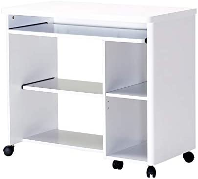 Amazon Brand - Movian Severn Mobile Workstation with Wheels & Additional Storage, 89 x 48 x 76cm, White