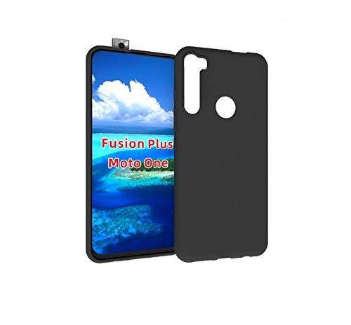 SkyTree Shock Proof Bumper Hybrid Edge to Edge Protective Back Cover for Motorola Moto One Fusion+/Fusion Plus - Black