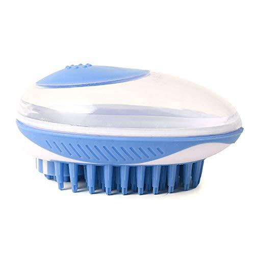 Moligin Haustier-Shampoo-bürsten-Haustier-badebürste Hundebürsten Rubbe Hundebad Bürste Kosmetik Massage Haarentfernung Kamm Silikon-dusche-Haustier-reinigungs-Werkzeug Mit Shampoo Containern Blau