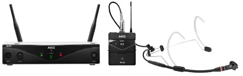AKG Pro Audio WMS420 Headworn Set Band A Wireless Microphone System with SR420 Stationary Receiver, P420 Pocket Transmitter, and C555L Headworn Microphone