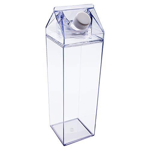 LUTER 500 ML Botella de Leche Cuadrada Botella de Jugo de Agua a Prueba de Fugas (Transparente / 1000ml)