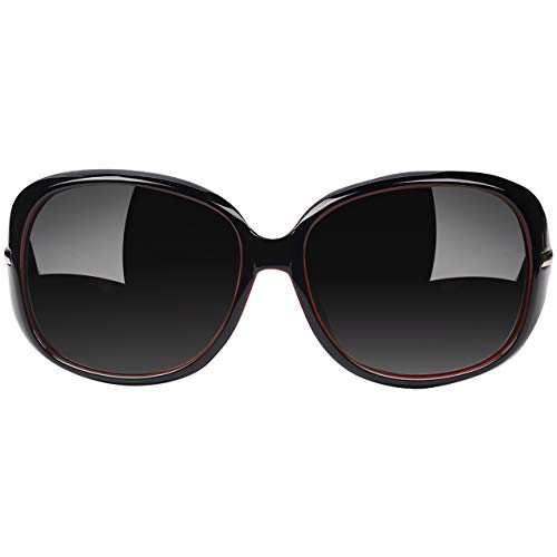 Joopin Oversized Polarized Sunglasses for Women, UV400 Big Frame Womens Sunglasses Fashion Sun Glasses Ladies Shades (Black Red)