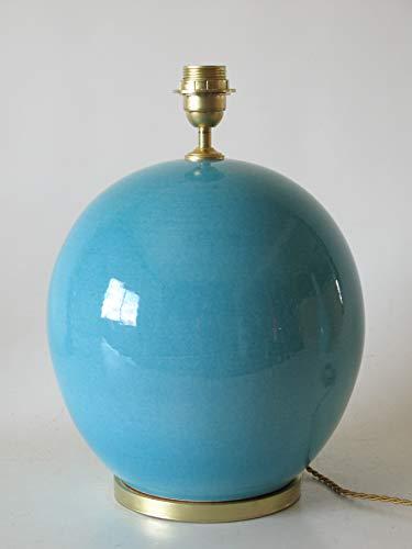Lámpara de Ceramica Sobremesa Macro Hall Azul de 35 cm Ocre, E27, 60 W - Pie de Lámpara de Cerámica Sobremesa Azul Turquesa Antiguo Craquelado