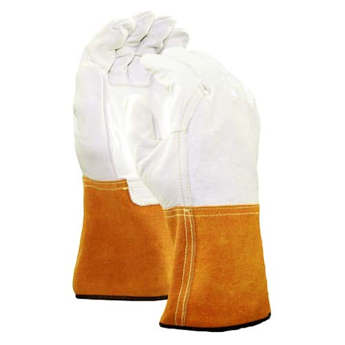 Stauffer Leather MIG/TIG Welding Gloves with Leather Gauntlet Cuff | Orange/White Color, Select Grade, Unlined Lining - Large (Pack of 4)