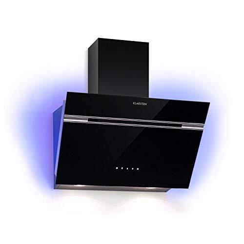 Klarstein Alina - Campana extractora de pared, Extracción 600 m³/h, 3 potencias extracción, EEC A, Consumo 165 W, Iluminación LED 9 colores, Frontal de cristal, Panel de control táctil, 60 cm, Negro